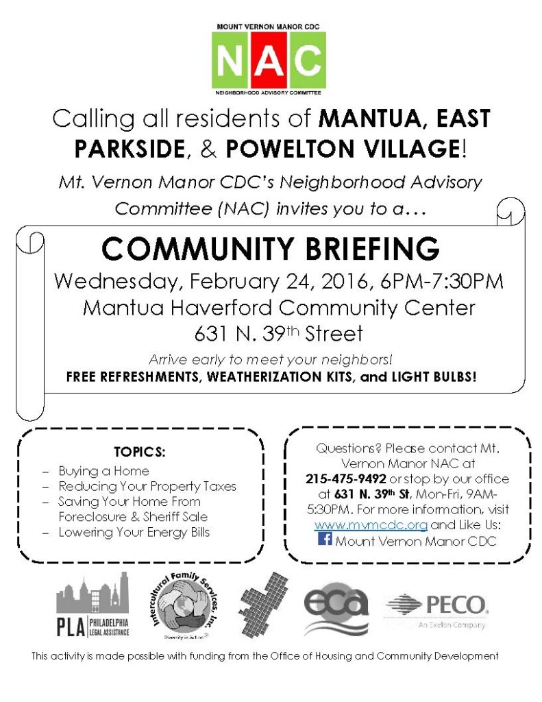 Feb 24 Mt. Vernon Manor NAC Community Briefing Flyer