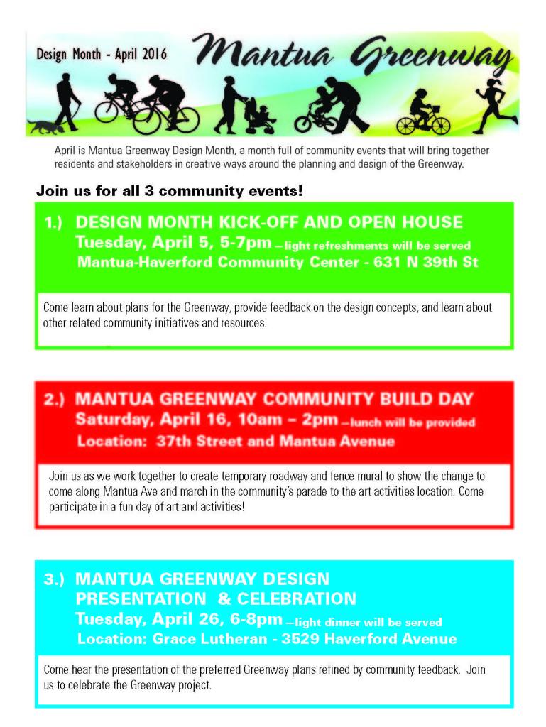 Mantua Greenway Design Month Flyer