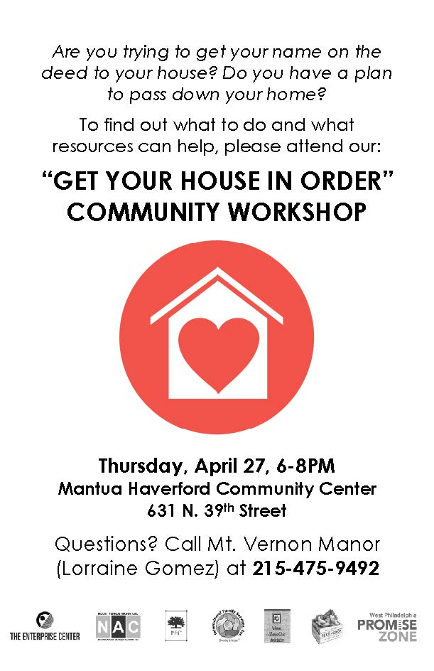Get Your House in Order Workshop Flyer