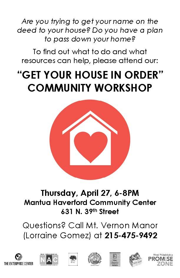 Get Your House in Order Workshop Flyer