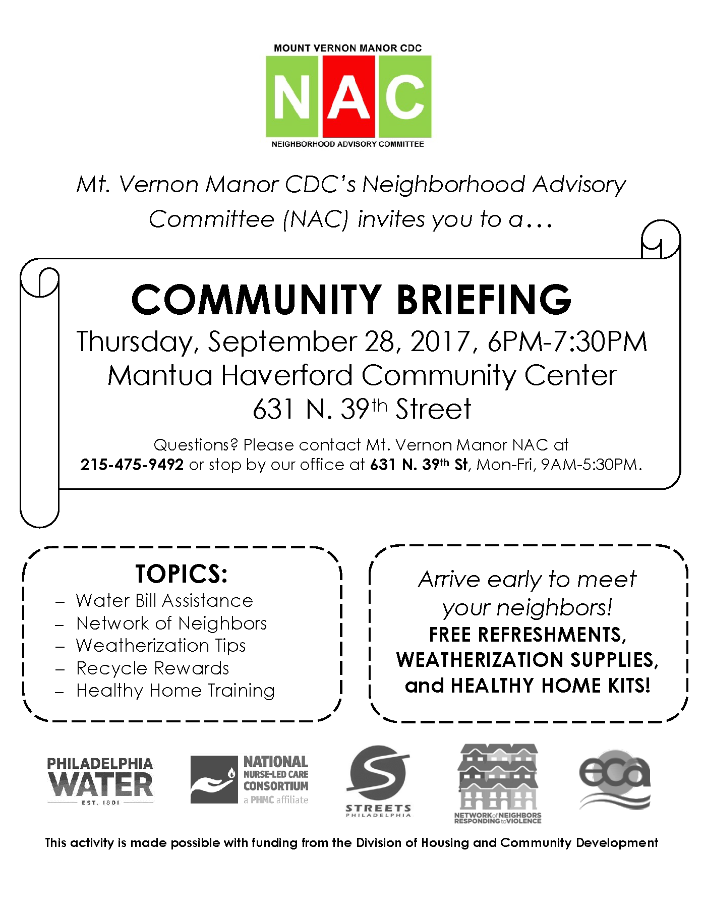 September 28 Community Briefing Flyer