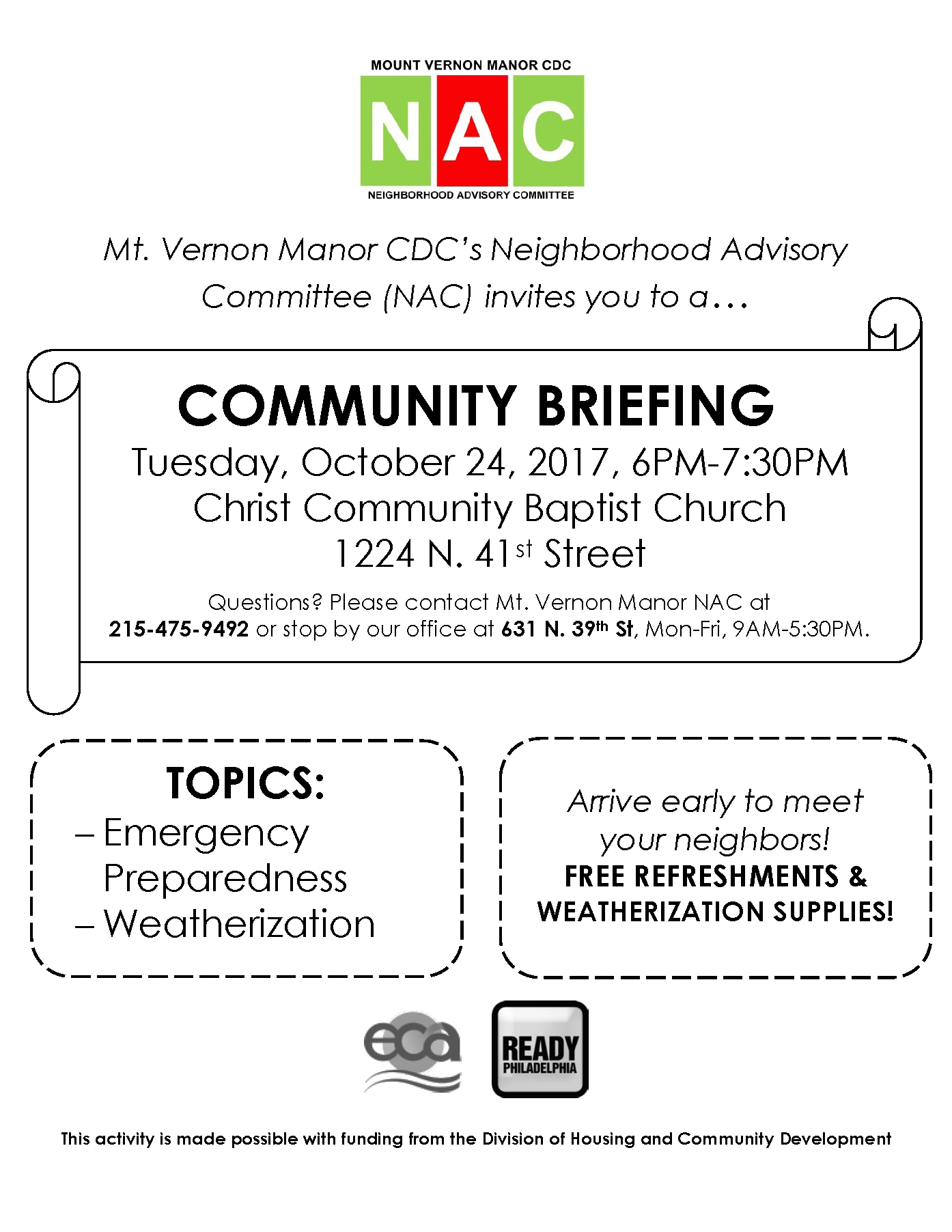East Parkside Community Briefing Flyer