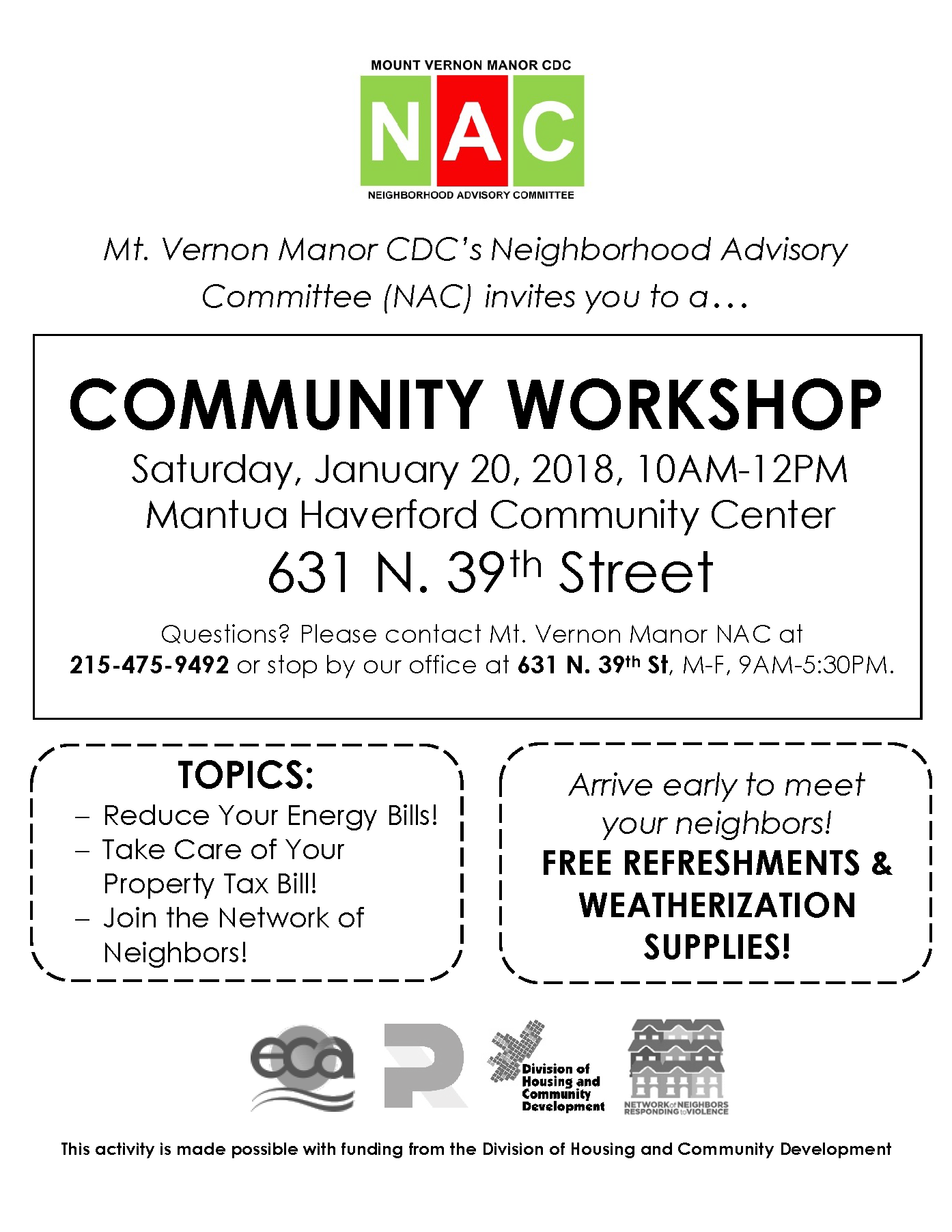 January 20 Community Workshop Flyer