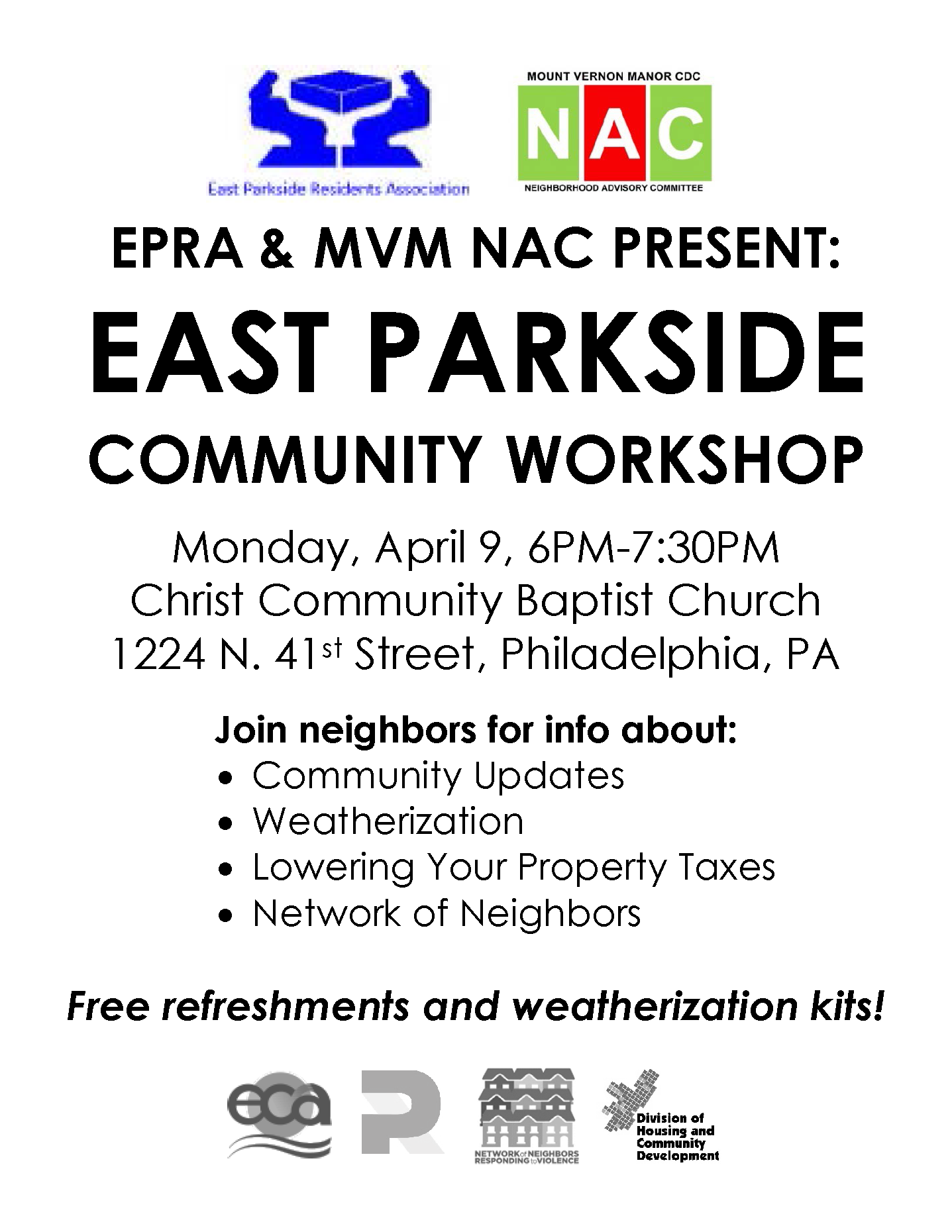 East Parkside Community Workshop April 9
